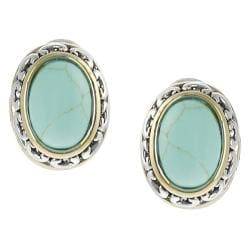 Silvertone and Goldtone Created Turquoise Ornate Earrings