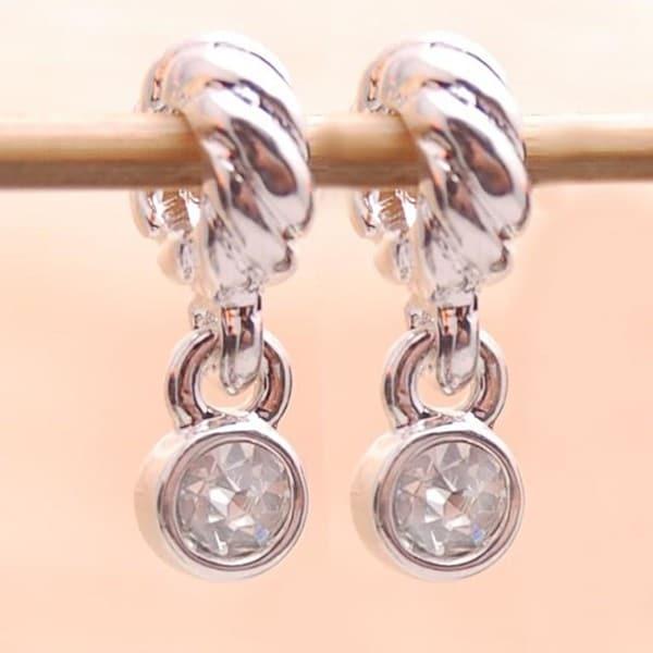 Silverplated Clear Crystal Rhinestone Charm Beads (Set of 2)