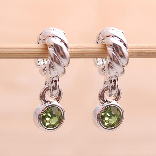 Silverplated Green Crystal Rhinestone Charm Beads (Set of 2)