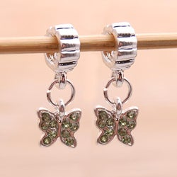 Silvertone Green Rhinestone Butterfly Charm Beads (Set of 2)