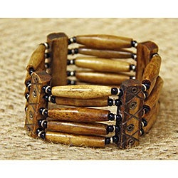 Silvertone Cow Bone Brown Railroads of Life Beaded Bracelet (Kenya)