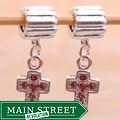 Silverplated Pink Rhinestone Cross Charm Beads (Set of 2)