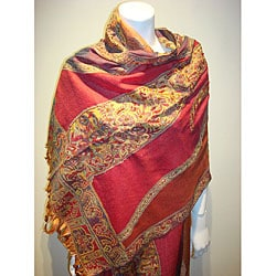 Selection Privee 'Zoe' Red Paisley Embroidered Wool Shawl