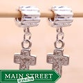 Silverplated Clear Rhinestone Cross Charm Beads (Set of 2)