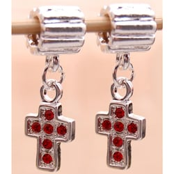 Silverplated Red Rhinestone Cross Charm Beads (Set of 2)