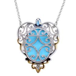 Michael Valitutti Two-tone Turquoise Cameo and Blue Topaz Necklace