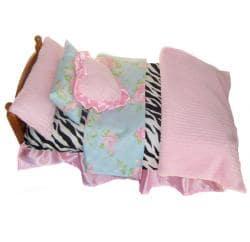 Ann Loren American Girl Dolls 7-piece Zebra and Floral Doll Bedding Set