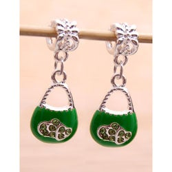 Silvertone Green Enamel and Crystal Purse Charms (Set of 2)