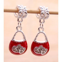 Silvertone Red Enamel/ Clear Crystal Purse Charms (Set of 2)
