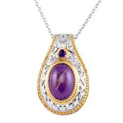 Michael Valitutti Two-tone Rutilated Quartz, Amethyst and Sapphire Necklace