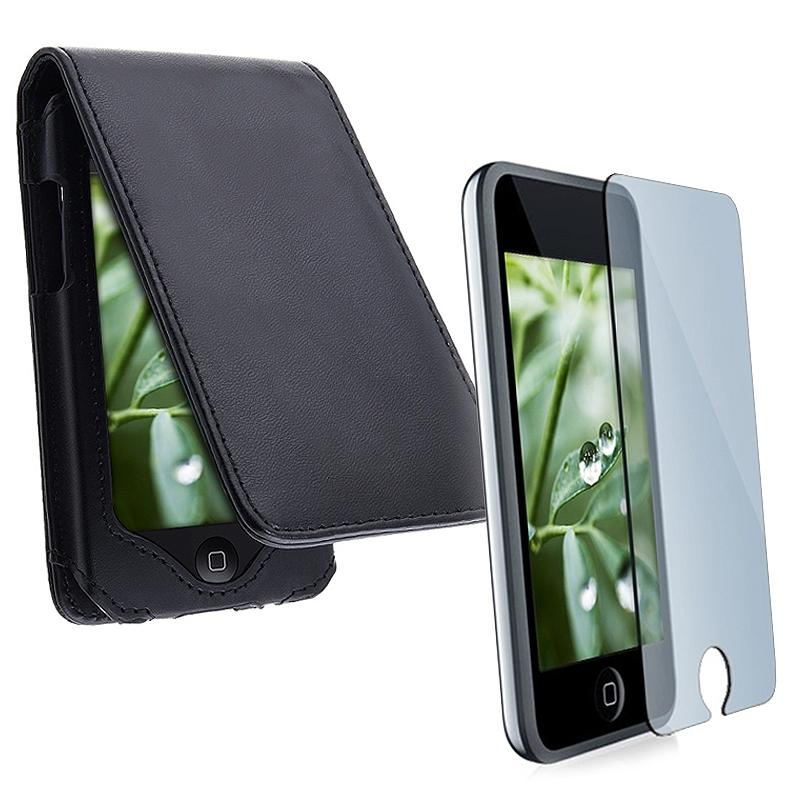 INSTEN Black Synthetic Leather Case Cover and Screen Protector for Apple iPod Touch
