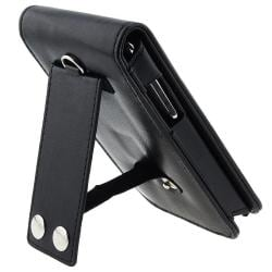 Black Synthetic Leather Case and Screen Protector for Apple iPod Touch