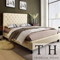 TRIBECCA HOME Sophie Beige Fabric Tufted Full-size Platform Bed