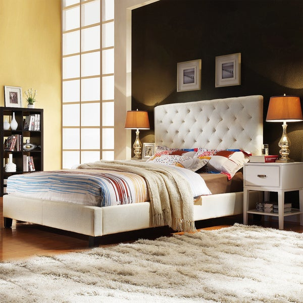 TRIBECCA HOME Sophie Beige Fabric Tufted Full-sized Upholstered Platform Bed