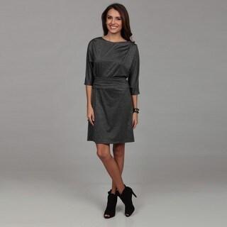 London Times Women's Black/ Grey Ruche Dress
