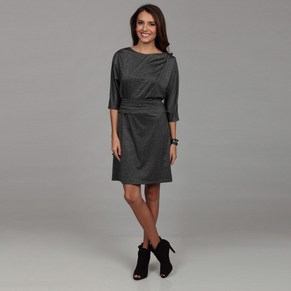 London Times Women's Black/ Grey Ruche Dress
