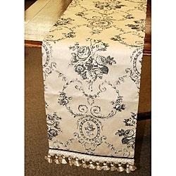 Corona Decor Italian-Style Black/White Floral-Motif 70-Inch Table Runner