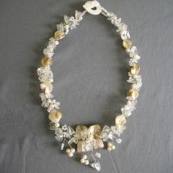 Pearl, MOP and Quartz Hidden Floral Necklace (4-8 mm) (Philippines)