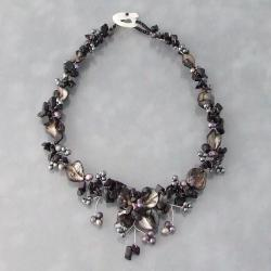 Black Onyx, MOP and Pearl Hidden Floral Necklace (4-8 mm) (Philippines)