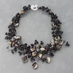 Triple Mother of Pearl/ Onyx Flower Statement Necklace (Philippines)