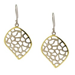 Gold over Silver Petite Filigree Leaf Earrings