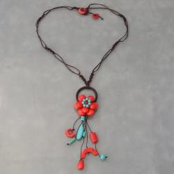 Cotton Love of Flower Red Coral/ Turquoise Dangle Necklace (Thailand)