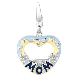Sterling Silver Mom Photo Heart Charm
