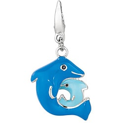 Sterling Silver Two Dolphins Charm