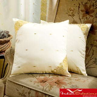 Set of Two Sari Fabric Cream Decorative Pillow Covers (India)