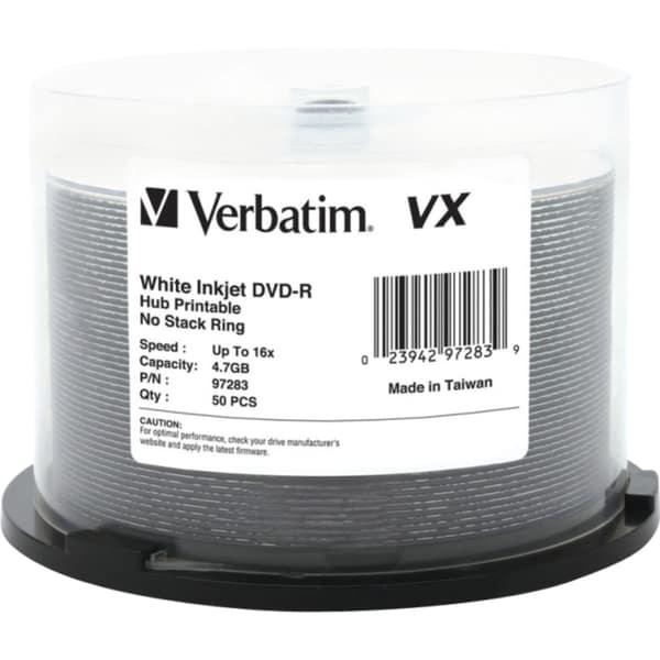 Verbatim DVD-R 4.7GB 16X VX White Inkjet Printable, Hub Printable - 5 8174808