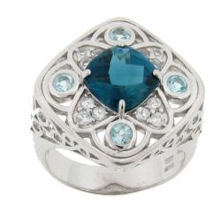 Meredith Leigh Sterling Silver Blue and White Topaz Ring