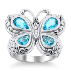 Meredith Leigh Silver Blue Topaz and Diamond Critters Butterfly Ring