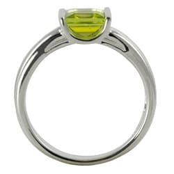 Gems For You Sterling Silver Princess-Cut Peridot Ring