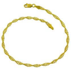 Fremada 14k Yellow Gold Diamond-cut Twisted 3-Row Bead Ball Bracelet