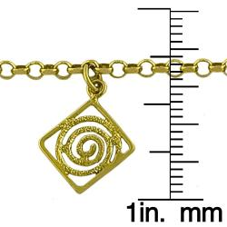 Fremada 14k Yellow Gold 10-inch Lazer Charm Anklet