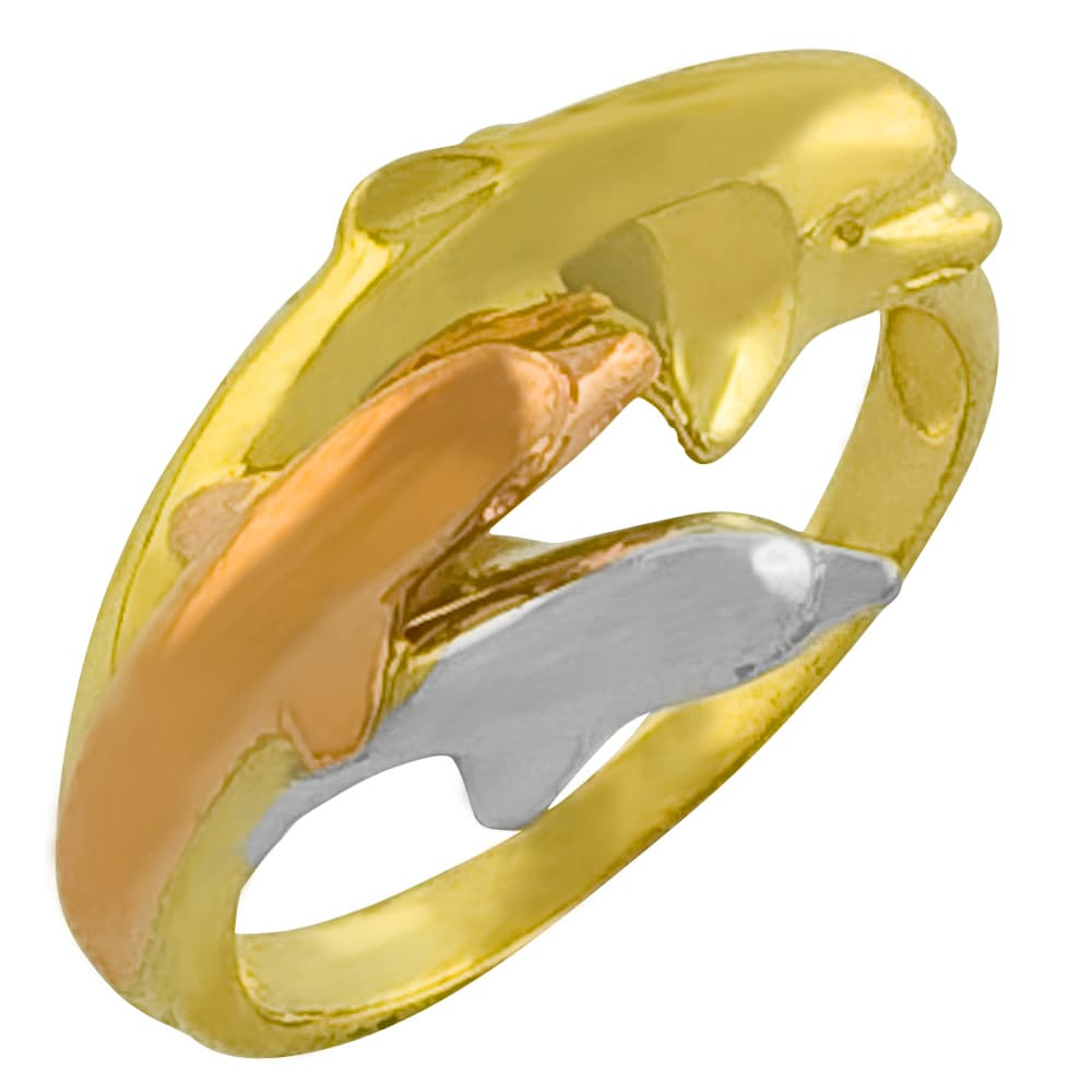 Fremada 10k Tri-color Gold Triple Dolphin Ring