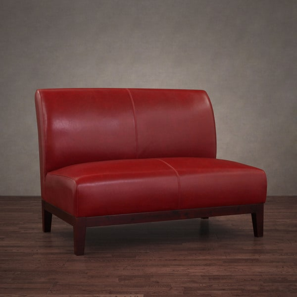 Cole Burnt Red Leather Loveseat