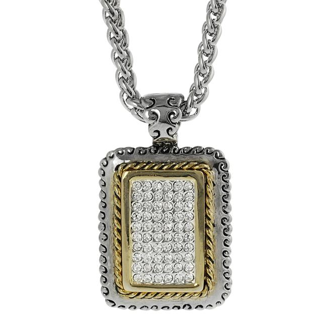 Journee Collection Two-tone Pave-set CZ Rectangular Necklace