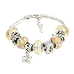 La Preciosa Glass Bead and Charms Pandora-style Bracelet
