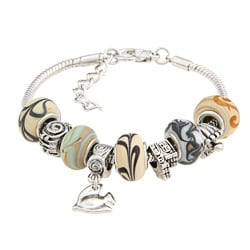 La Preciosa Tan Glass and Silverplated Oval Bead Charm Snake Bracelet