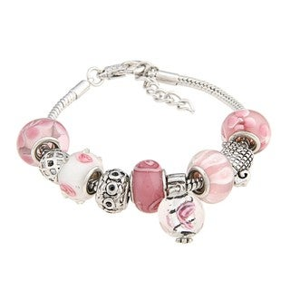 La Preciosa Glass Pink and White Bead Charm Pandora-style Bracelet