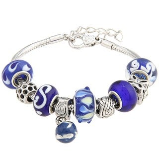 La Preciosa Snake-chain Polished-brass Blue Glass-bead Charm Pandora-style Bracelet