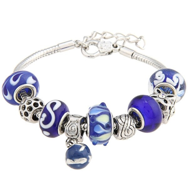 La Preciosa Snake-chain Polished-brass Blue Glass-bead Charm  Bracelet 8175174