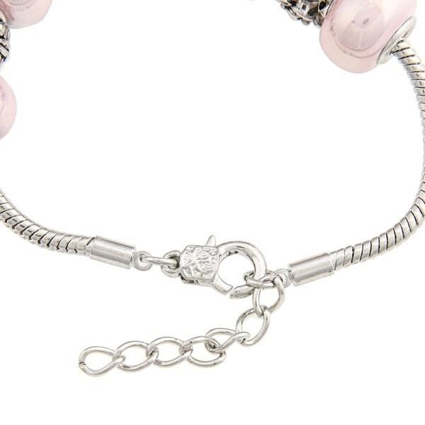 La Preciosa Pink Glass Bead and Silverplated Metal Charm Bracelet