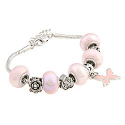La Preciosa Pink Glass Bead and Silverplated Metal Charm Bracelet