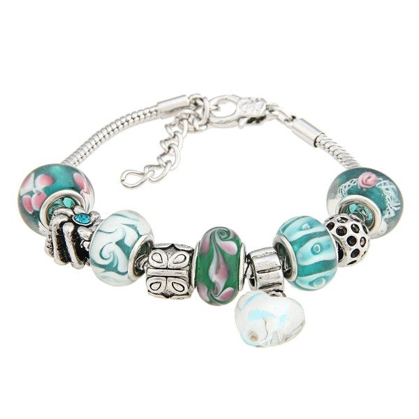 La Preciosa Green, White, and Pink Glass Bead Charm Bracelet