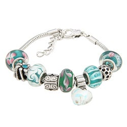 La Preciosa Green, White, and Pink Glass Bead Charm Bracelet