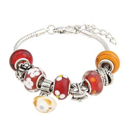 La Preciosa Red Glass Bead with Flowers Silverplated Charm Bracelet