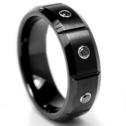 Tungsten Carbide Men's 1/6ct TDW Black Diamond Grooved Black Ring