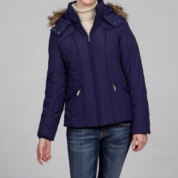 Honee Women's Navy Faux-fur Cinched Waist Puff Coat